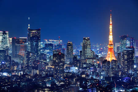 Night view of Tokyo full of light