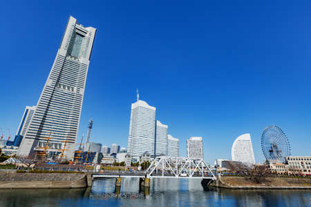 Buildings and blue sky in Yokohama built by the sea