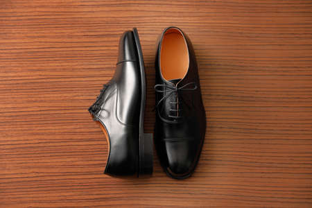 Black business shoes made of leather Stock fotó