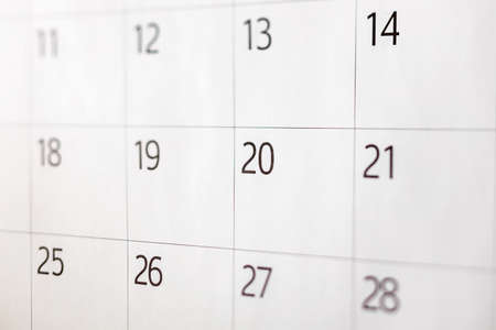 Calendar with nothing written