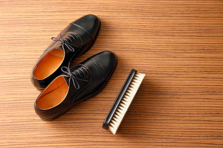 Beautiful leather black business shoes