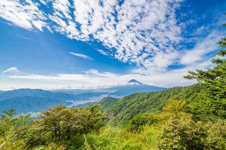 Mt. Fuji landscape background.