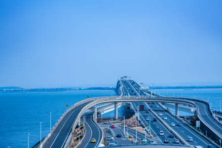 Highways and the Sea background. 免版税图像