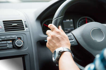 Men driving background.