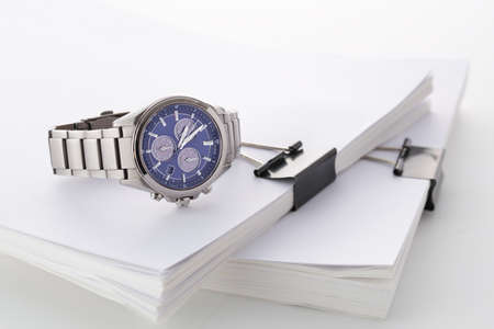 Watch with thick material fastened with clips