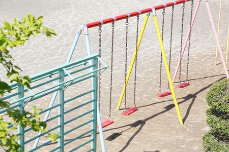 Playground equipment in the schoolyard of an elementary school