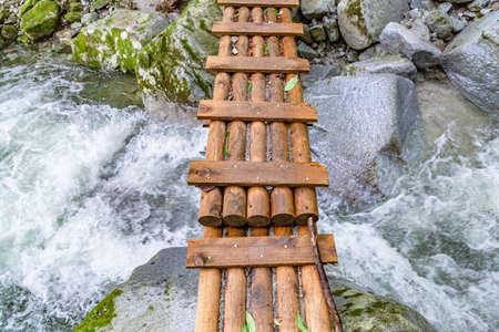 Mountain trail bridge