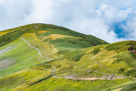 Green mountains and mountain trails