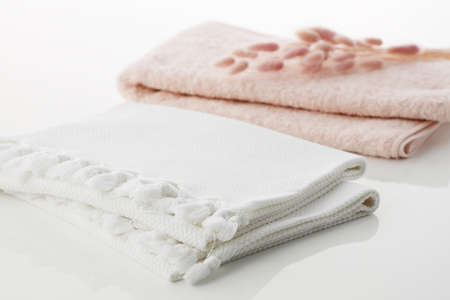 White and pink Clean towels