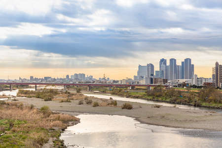 Spacious riverside views (Futakotamagawa) 写真素材