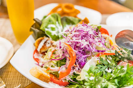 Caesar salad with plenty of cheese