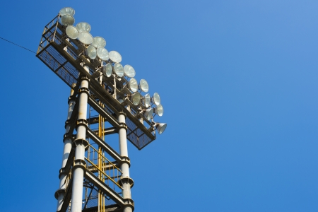 metal stadium lights for sport game with beautiful blue sky