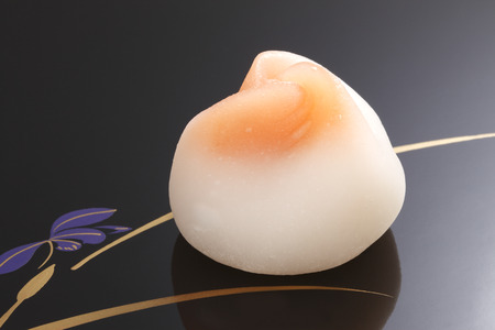 lacquered: Japanese traditional confectionery cake wagashi on lacquered plate