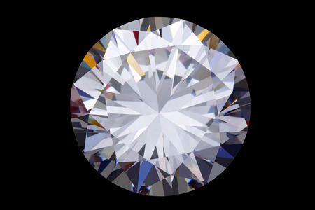 brilliant: round diamond-isolated on black background Stock Photo