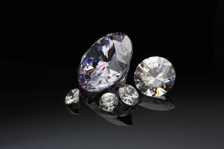 Diamonds isolated on black Stockfoto