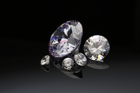 Diamonds isolated on black 版權商用圖片