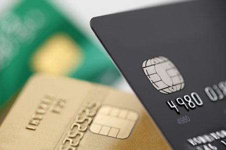Credit cards close up Imagens