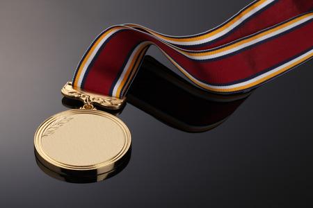 medal ribbon: Gold medal on Black background