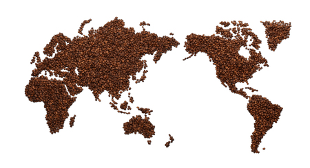World map made of coffee beans, isolated on white