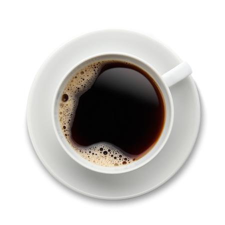directly above: Black Coffee in a white cup and saucer with bubbles