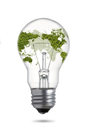 filaments: Green world map on a classic filament light bulb