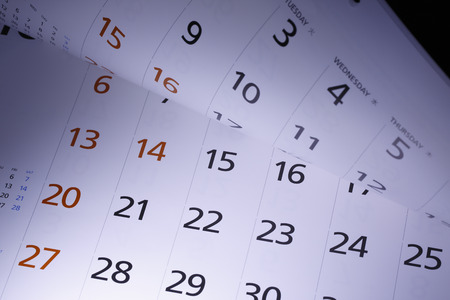 slanted: Closeup of the calendar page. Stock Photo