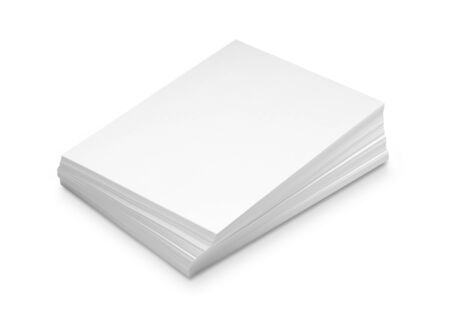 stacks: Stack white paper isolated on white background with Clipping Path
