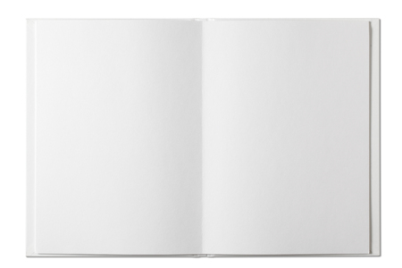 Blank open Book isolated on white Standard-Bild