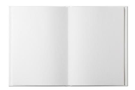 libro abierto: Libro en blanco abierto aislado en blanco Foto de archivo