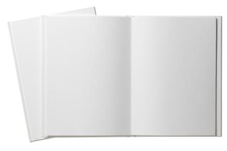 cielos abiertos: Libro en blanco abierto aislado en blanco Foto de archivo