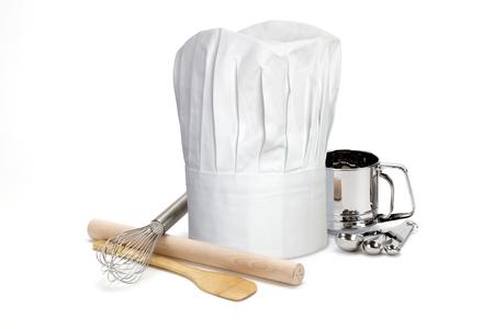 Sombrero del cocinero y utensilios Foto de archivo - 45972432