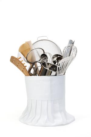 toque: Chef Hat and utensils Stock Photo