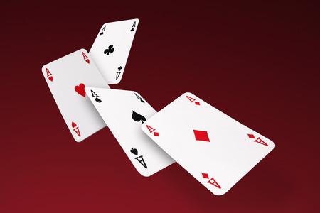 Vier Acesflying Karten Standard-Bild - 45934325