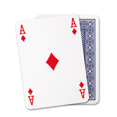 Diamonds ace of playing card and Back Designs on white background Stock Photo