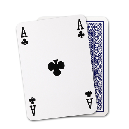 ace: Clubs ace of playing card and Back Designs on white background