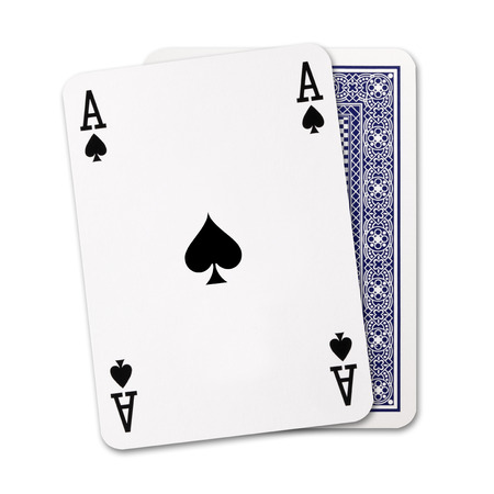 Spades ace of playing card and Back Designs on white background