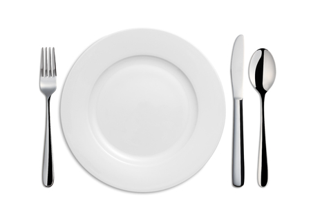 directly above: Dinner Plate, Knife, Spoon and Fork on white background