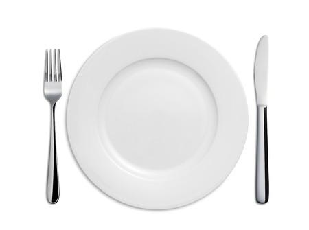 저녁 식사 플레이트, 나이프와 포크 흰색 배경에