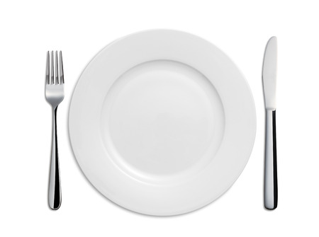 dish: Dinner Plate, Knife and Fork on white background