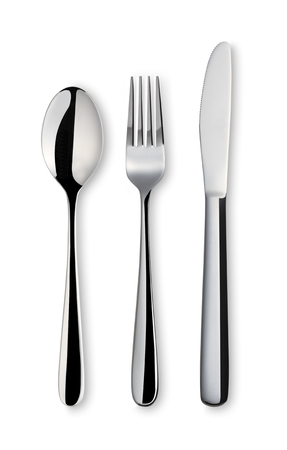 Fork spoon and knife on white background. with clipping path
