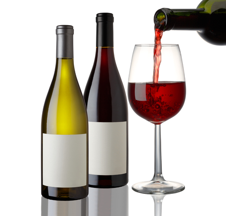Red and White Wine bottle and glass on white background