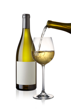 White wine glass and bottle isolated on white background