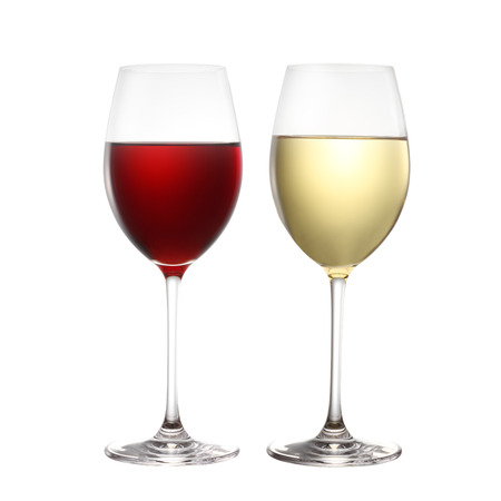 red wine and white wine isolated on white Standard-Bild