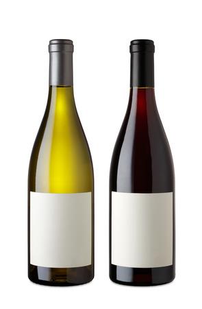 Bottiglia di vino rosso e vino bianco con percorso di clipping Archivio Fotografico - 46198384