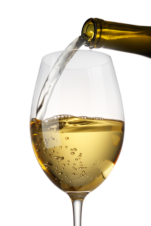 glass bottles: Pouring white Wine Stock Photo
