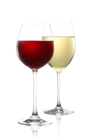 red wine and white wine isolated on white Stock fotó - 46198392