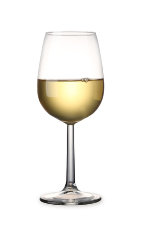 White wine isolated on white background with clipping path Banco de Imagens