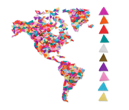 Noord- en Zuid-Amerika gemaakt van confetti en met het knippen van weg
