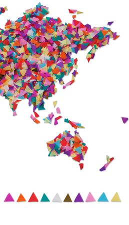 oceania: Asia, Oceania made of confetti and with clipping path Stock Photo