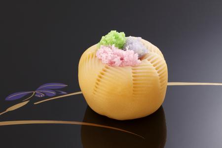 orenge: Japanese traditional confectionery cake wagashi on plate